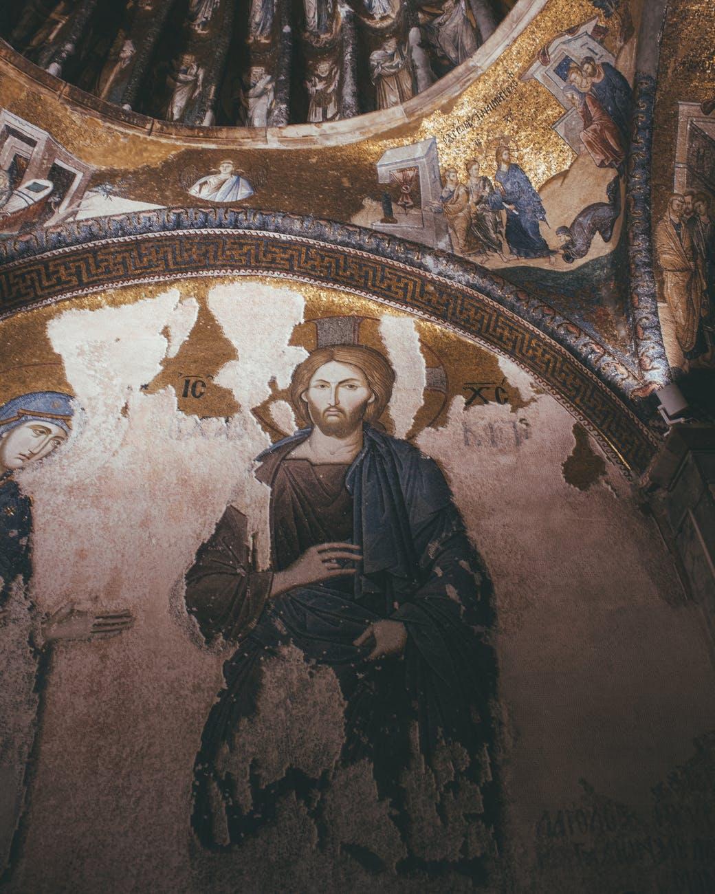religious wall art inside building